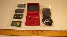Nintendo Game Boy Advance SP Console Flame Red w/ Games Charger Bundle AGS-001