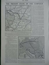 1915 PRESENT STATE OF THE CAMPAIGN GERMANY'S NEXT MOVE WW1 WWI