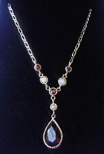 """Antique Style 9ct Gold Garnet & Seed Pearl Lavalier Necklace, 16 1/2"""""""