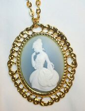 LG Blue & White Victorian Lady Cameo Pendant Necklace
