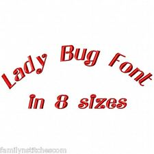 Lady Bug Font Machine Embroidery Designs on CD 82 letters numbers in 8 sizes