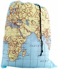 kikkerland TRAVEL WORLD MAP Washable Laundry Bag 100% Polyester LB06MP