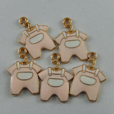 **5pcs Pink Enamel Alloy Baby Clothing Pendants Charms Jewelry Crafts 39230