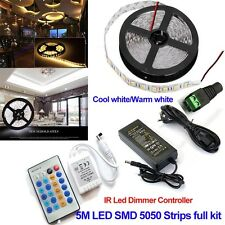 5M 5050 12V 300leds LED Strip Light Tape Full Kit+IR Dimmer Controller+5A power