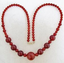 "23"" Chinese ? Carnelian Agate 19.8mm to 6mm Bead Necklace w/ 14K Gold Clasp"