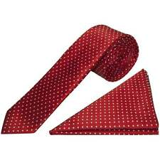 Red and White Polka Dot Skinny Men's Tie Handkerchief Set Wedding Tie Prom Tie