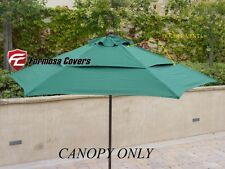 Double Vented Replacement Umbrella Canopy 9ft 6 Rib Outdoor Patio Umbrella Green
