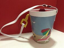 """Zalo Beach Pail Bucket Purse Made in Spain Unique """"shovel"""" strap leather look"""