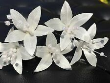 5 Wedding Prom  Shiny Ivory Lily Flower Hair Pins Clips Grips handmade