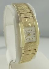 LADIES 14K YELLOW GOLD VINTAGE GENEVA FLORAL MANUAL WIND DRESS CASUAL WATCH 6""