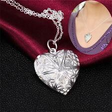 Nueva Colgante Corazón Mujeres 925 Plata Collar Moda Joyería Mujeres Regalo