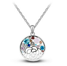 Luxury Hollow Flower Colourful Crystal Round Circle Pendant Necklace N396