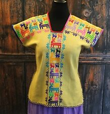 Michoacan Blouse with Deer Hand Embroidered & Woven Mexico, Cowgirl Hippie Boho