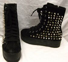 JC PLAY by JEFFREY CAMPBELL SUEDE HIGH TOP SNEAKERS Sz 8, UK 6 *STUDS*