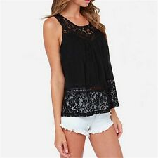 Summer Style Women Tops Sexy Hollow out Sleeveless Split Back Lace Blouse
