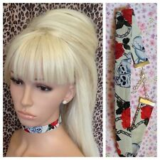 CREAM SKULL RED ROSE COTTON FABRIC CHOKER NECKLACE 2cm METAL CHAIN RETRO GOTH