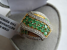 2.25Cts Brazilian Emerald & Diamond 14K Y Gold/925 Ring Size S