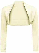 Womens Long Sleeve Plain Shrug Bolero Shrug Top Ladies Cardigan Top 8-26