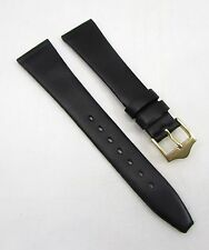 19mm BANDA Black Crystal Calfskin Grain Genuine Leather Watch  Strap / Band