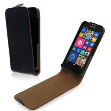 Luxury Magnetic Flip Phone Black Leather Skin Hard Cover Case fr Nokia Lumia 630