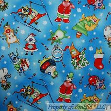 BonEful FABRIC FQ Cotton Quilt Blue White Cat Kitty Xmas Snow*Flake Stocking Red