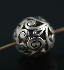 Vintage 10Ps Antique Sliver Hollow Out Round Bead Spacer Charms Finding 14mm