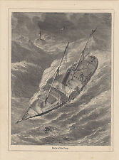 EARLY STEAMSHIP IN PERIL AT SEA DURING STORM NAUTICAL MARITIME ANTIQUE PRINT