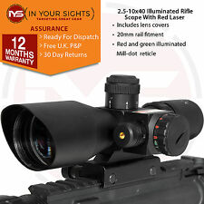 Rifle or Airsoft 2.5-10x40 rifle scope / Green & red dot sight with red laser