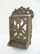 Antique Old Cast Iron Metal Ornate Black Mantle Match Safe Holder Used
