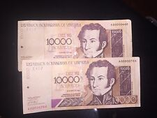 VENEZUELA BANKNOTE, 10000 BOLIVARES, Reed Description Please Low Serial ???reed
