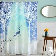 HOT Christmas Waterproof Polyester Bathroom Shower Curtain Xmas Decor With Hooks