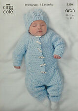 KNITTING PATTERN Baby All-in-one Textured Suit & Hat Aran King Cole 3504