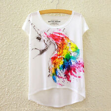 Fashion Women Short Sleeve Unicorn Print Asymmetric High Low T Shirt Blouse Tops