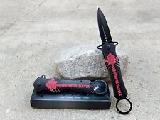 "9"" Red Cross Vampire Slayer Stiletto Blade Spring Assisted Pocket Knife Key Ring"