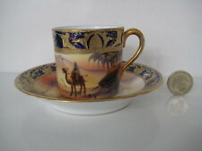 SUPERB VINTAGE NORITAKE CAMEL IN THE DESERT SCENE COFFEE CAN AND SAUCER A