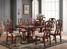NEW 7PC TRADITIONAL FORMAL GENEVA CARVED CHERRY FINISH WOOD DINING TABLE SET