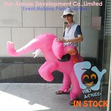 Inflatable Ride on Pink Elephant Haloween Costumes Adult Air Blowing Fat Costume
