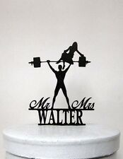 Custom Wedding Cake Topper - Your Man is Strong! Weight lifting Groom silhouette