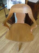 Office Desk Chair Vintage Tilt-Back Swivel Captain's Style Wooden Chair