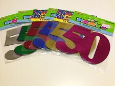 12 x 50 Birthday Party Foil Cutouts Numbers Assorted Colours   Decoration   50th