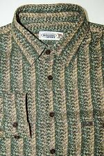 Vtg MISSONI SPORT Made in Italy Men's Button Front Shirt Green Beige Size XL