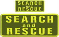 Search and Rescue embroidery patches 4x10 and 2x5  hook on back OD GREEN yellow