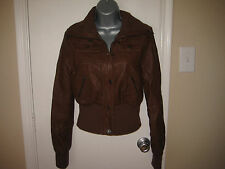 JOU JOU Womens Brown Long Sleeve Cropped Leather Jacket Size M