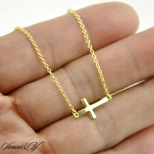 "Sterling Silver 925 Gold Plated Small Sideways Cross Pendant Necklace 16""-18"""