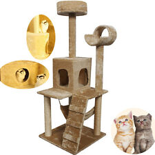 "52"" Beige New Cat Tree Tower Condo Furniture Scratch Post Kitty Pet House Play"