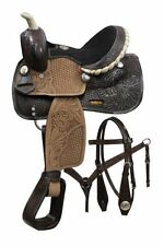 """10"""" Double T pony saddle set with engraved silver conchos"""