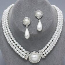 White pearl jewellery faux pearl and diamante necklace set PROMS 0365