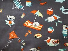 Michael Miller DOG Fabric Fat Quarter Cotton Craft Quilting PUGS On the Beach