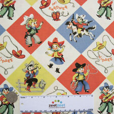 Michael Miller YIPPEE Retro COWBOY COWGIRL Cotton Quilt Fabric by the YARD
