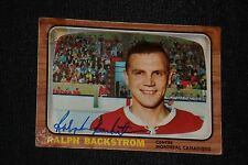 RALPH BACKSTROM 1966-67 TOPPS SIGNED AUTOGRAPHED CARD #75 MONTREAL CANADIENS